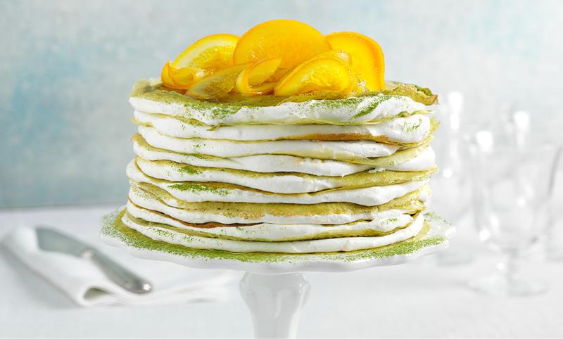 Matcha Crepe Cake With Orange Whipped Cream Recipe | Sugimoto Tea Company
