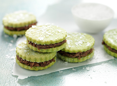 recipe preview image - sea salt matcha cookies chocolate filling