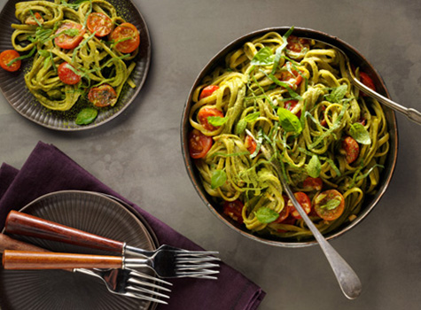 recipe preview image - matcha pasta