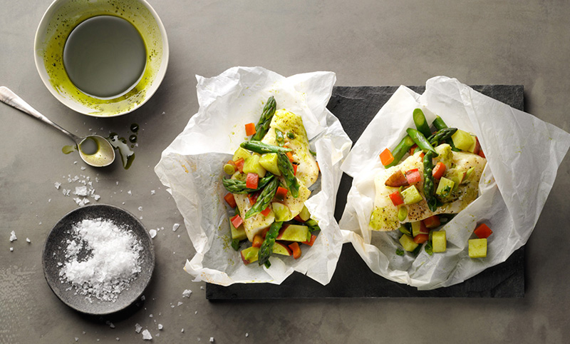 Wild Caught Cod With Matcha And Veggies In Parchment | Sugimoto Tea Company